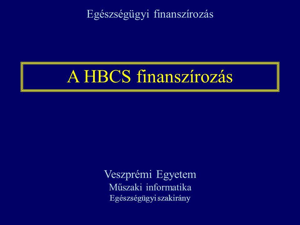 A HBCS finanszírozás Egészségügyi finanszírozás Veszprémi Egyetem Műszaki informatika Egészségügyi szakirány