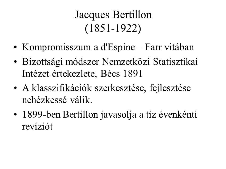 Jacques Bertillon (1851-1922) Kompromisszum a d Espine – Farr vitában Bizottsági módszer Nemzetközi Statisztikai Intézet értekezlete, Bécs 1891 A klasszifikációk szerkesztése, fejlesztése nehézkessé válik.