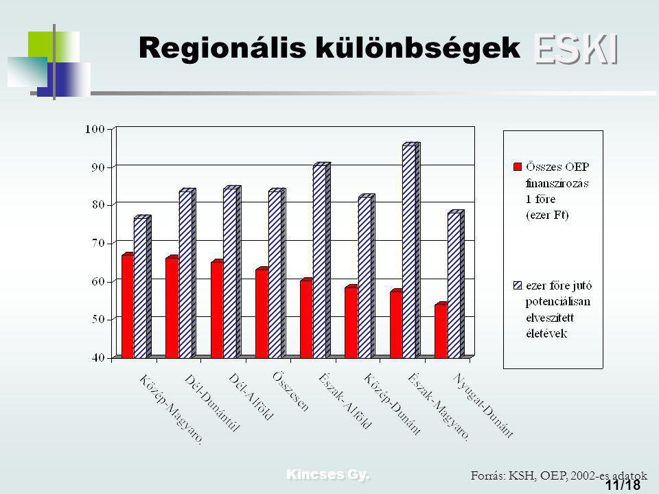 Kincses Gy. ESKI 11/18 Regionális különbségek Forrás: KSH, OEP, 2002-es adatok