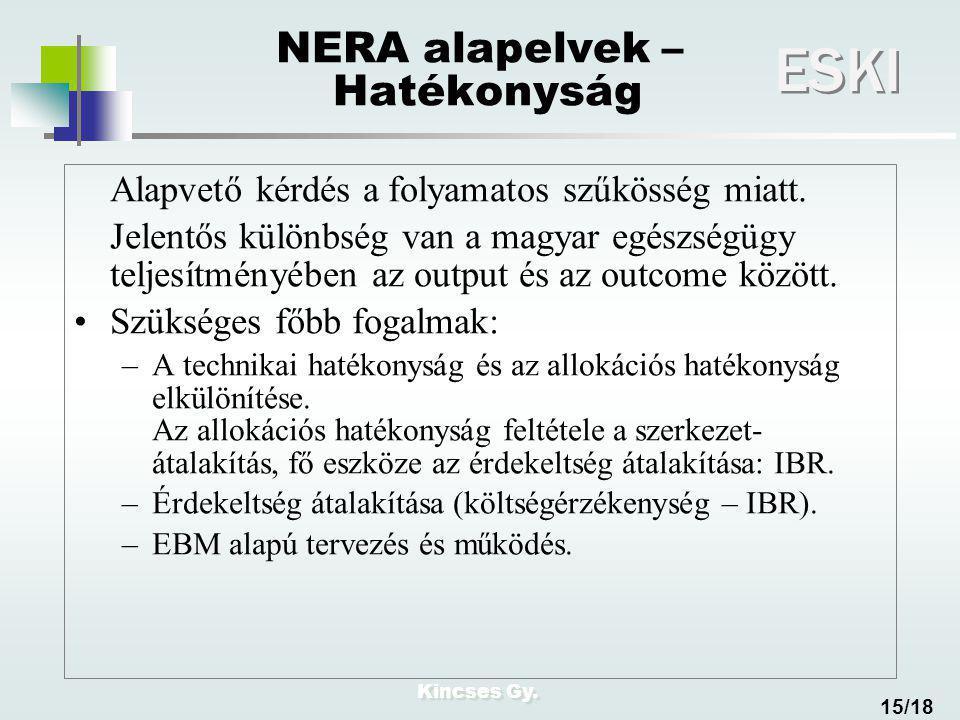 Kincses Gy. ESKI 15/18 NERA alapelvek – Hatékonyság Alapvető kérdés a folyamatos szűkösség miatt. Jelentős különbség van a magyar egészségügy teljesít