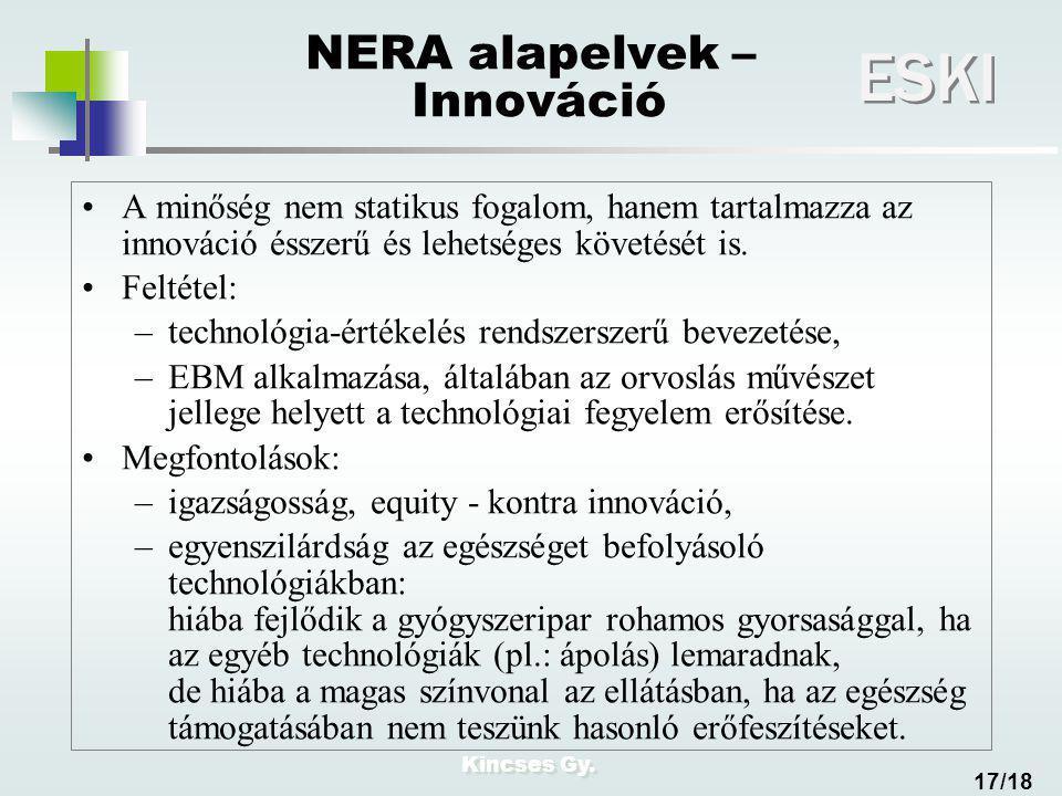 Kincses Gy. ESKI 17/18 NERA alapelvek – Innováció A minőség nem statikus fogalom, hanem tartalmazza az innováció ésszerű és lehetséges követését is. F