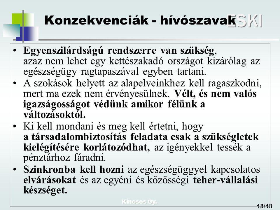 Kincses Gy. ESKI 18/18 Konzekvenciák - hívószavak Egyenszilárdságú rendszerre van szükség, azaz nem lehet egy kettészakadó országot kizárólag az egész