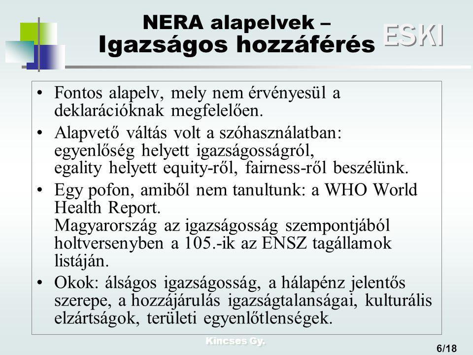 Kincses Gy. ESKI 6/18 NERA alapelvek – Igazságos hozzáférés Fontos alapelv, mely nem érvényesül a deklarációknak megfelelően. Alapvető váltás volt a s