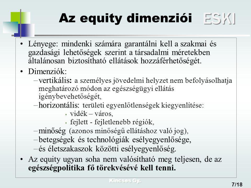 Kincses Gy. ESKI 7/18 Az equity dimenziói Lényege: mindenki számára garantálni kell a szakmai és gazdasági lehetőségek szerint a társadalmi méretekben