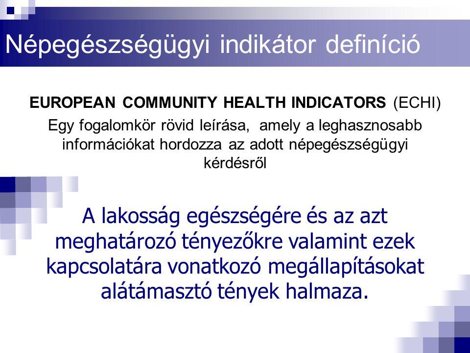 Népegészségügyi indikátor definíció EUROPEAN COMMUNITY HEALTH INDICATORS (ECHI) Egy fogalomkör rövid leírása, amely a leghasznosabb információkat hord