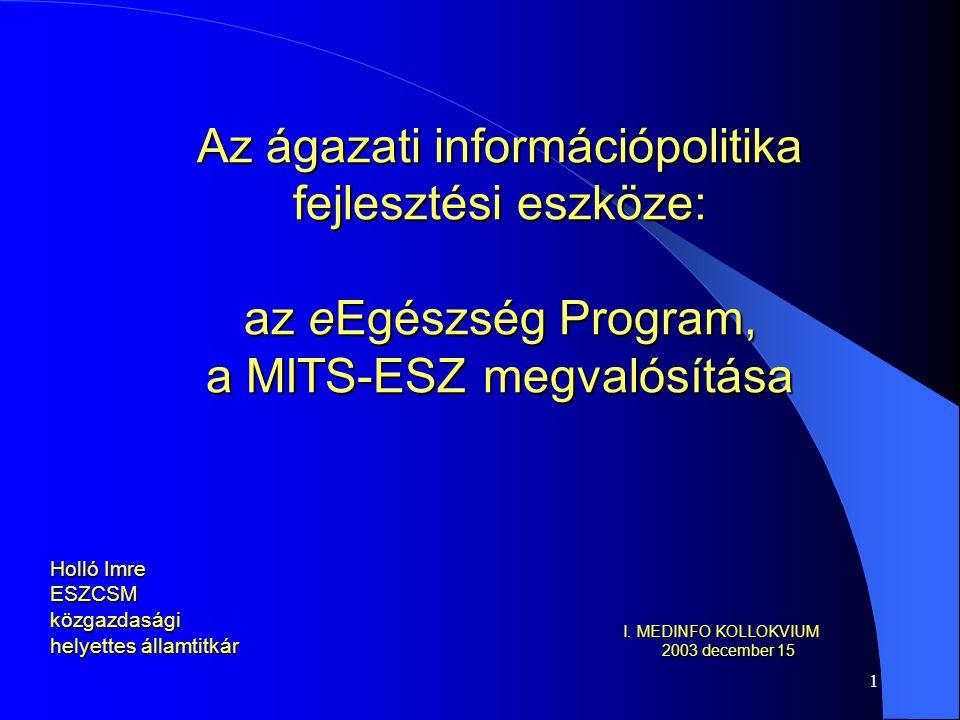 1 Az ágazati információpolitika fejlesztési eszköze: az eEgészség Program, a MITS-ESZ megvalósítása Holló Imre ESZCSM közgazdasági helyettes államtitkár I.