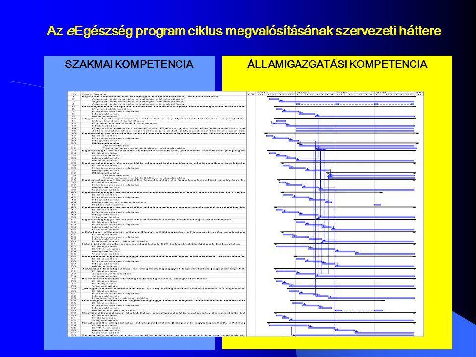SZAKMAI KOMPETENCIA ÁLLAMIGAZGATÁSI KOMPETENCIA Az eEgészség program ciklus megvalósításának szervezeti háttere