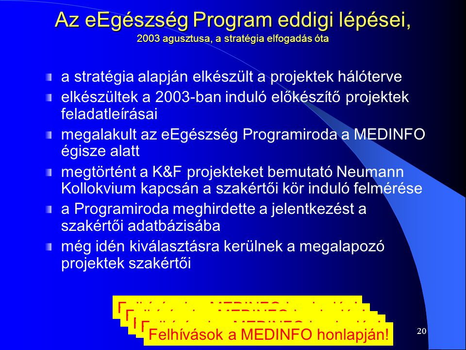 20 Az eEgészség Program eddigi lépései, 2003 agusztusa, a stratégia elfogadás óta a stratégia alapján elkészült a projektek hálóterve elkészültek a 2003-ban induló előkészítő projektek feladatleírásai megalakult az eEgészség Programiroda a MEDINFO égisze alatt megtörtént a K&F projekteket bemutató Neumann Kollokvium kapcsán a szakértői kör induló felmérése a Programiroda meghirdette a jelentkezést a szakértői adatbázisába még idén kiválasztásra kerülnek a megalapozó projektek szakértői Felhívások a MEDINFO honlapján!