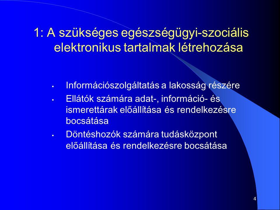 4 Információszolgáltatás a lakosság részére Ellátók számára adat-, információ- és ismerettárak előállítása és rendelkezésre bocsátása Döntéshozók számára tudásközpont előállítása és rendelkezésre bocsátása 1: A szükséges egészségügyi-szociális elektronikus tartalmak létrehozása