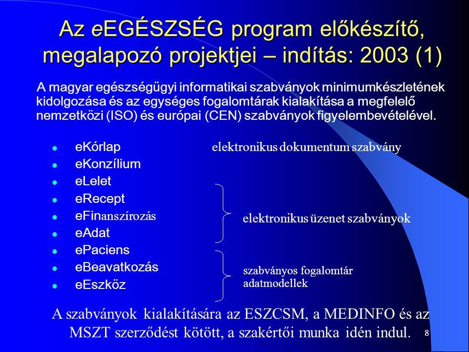 8 Az eEGÉSZSÉG program előkészítő, megalapozó projektjei – indítás: 2003 (1) A magyar egészségügyi informatikai szabványok minimumkészletének kidolgozása és az egységes fogalomtárak kialakítása a megfelelő nemzetközi (ISO) és európai (CEN) szabványok figyelembevételével.