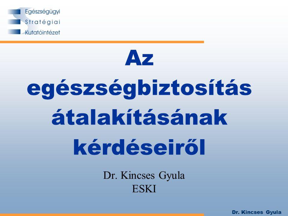 Dr. Kincses Gyula Az egészségbiztosítás átalakításának kérdéseiről Dr. Kincses Gyula ESKI