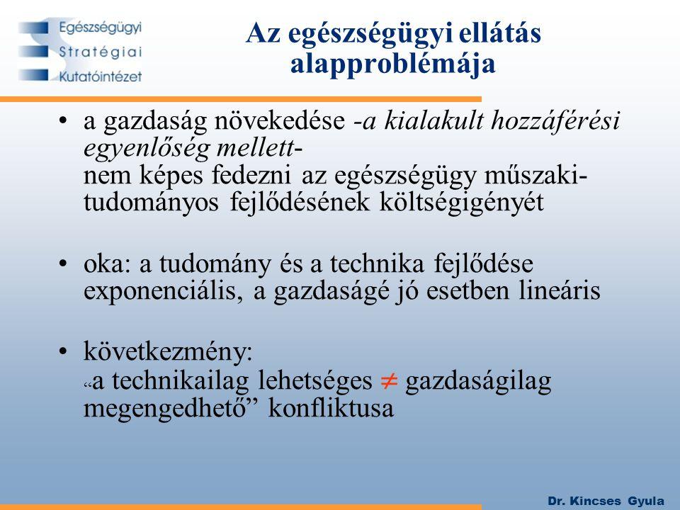 Dr. Kincses Gyula Az egészségügyi ellátás alapproblémája a gazdaság növekedése -a kialakult hozzáférési egyenlőség mellett- nem képes fedezni az egész