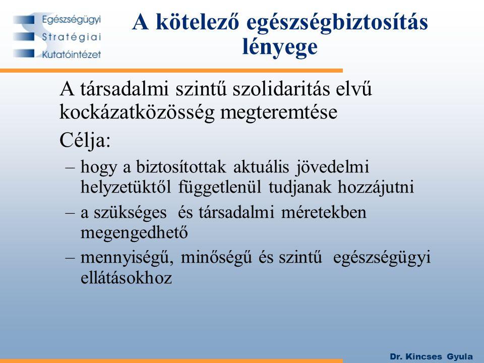 Dr. Kincses Gyula A kötelező egészségbiztosítás lényege A társadalmi szintű szolidaritás elvű kockázatközösség megteremtése Célja: –hogy a biztosított