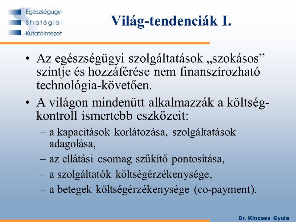 """Dr. Kincses Gyula Világ-tendenciák I. Az egészségügyi szolgáltatások """"szokásos"""" szintje és hozzáférése nem finanszírozható technológia-követően. A vil"""
