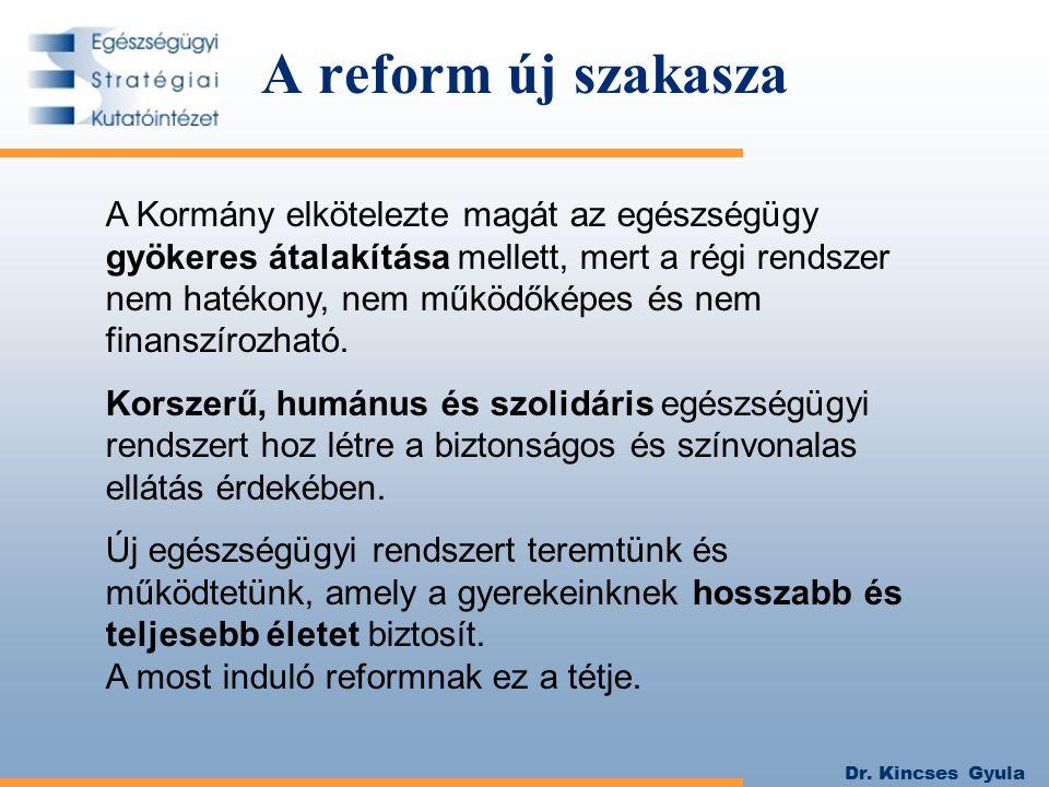 Dr. Kincses Gyula A Kormány elkötelezte magát az egészségügy gyökeres átalakítása mellett, mert a régi rendszer nem hatékony, nem működőképes és nem f