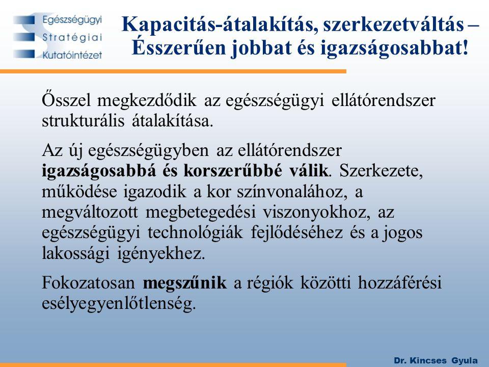 Dr. Kincses Gyula Kapacitás-átalakítás, szerkezetváltás – Ésszerűen jobbat és igazságosabbat! Ősszel megkezdődik az egészségügyi ellátórendszer strukt