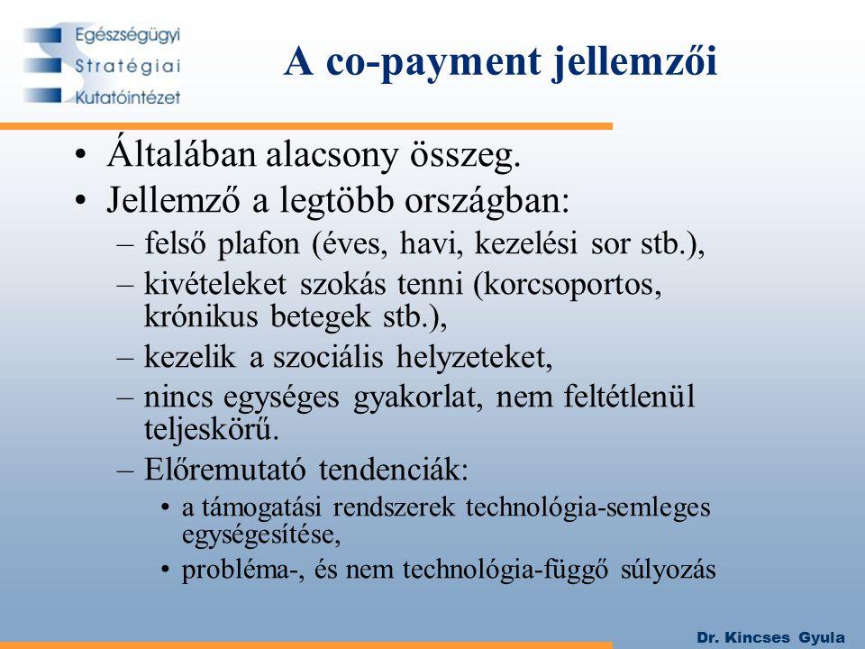 Dr. Kincses Gyula A co-payment jellemzői Általában alacsony összeg. Jellemző a legtöbb országban: –felső plafon (éves, havi, kezelési sor stb.), –kivé
