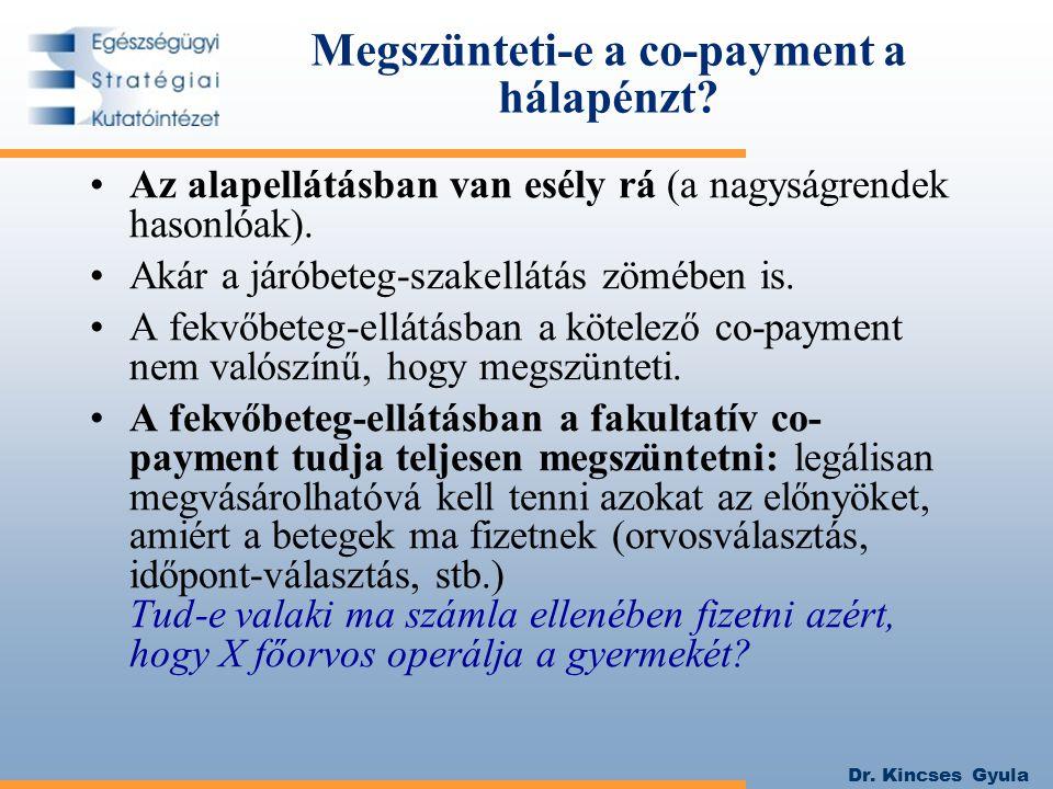 Dr. Kincses Gyula Megszünteti-e a co-payment a hálapénzt? Az alapellátásban van esély rá (a nagyságrendek hasonlóak). Akár a járóbeteg-szakellátás zöm