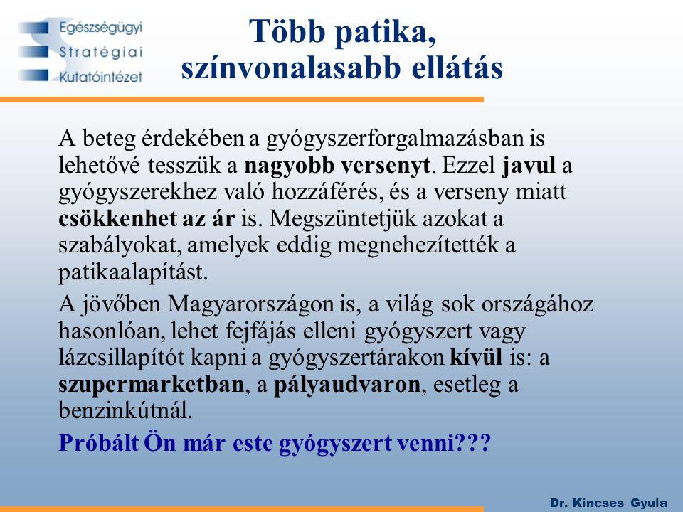 Dr. Kincses Gyula Több patika, színvonalasabb ellátás A beteg érdekében a gyógyszerforgalmazásban is lehetővé tesszük a nagyobb versenyt. Ezzel javul