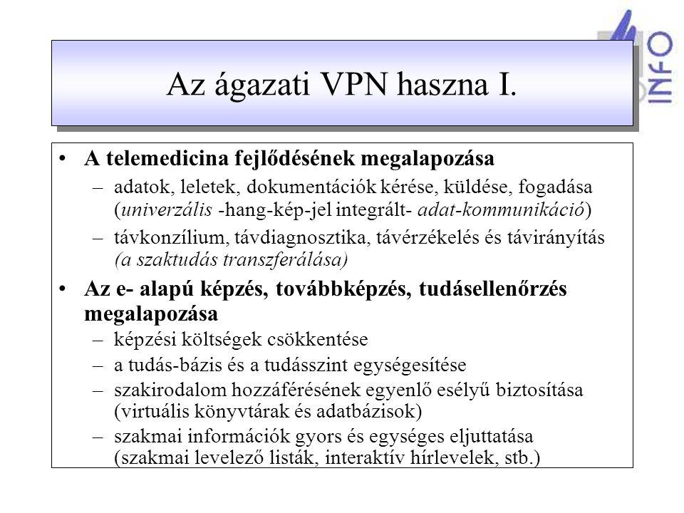 Kapcsolódási lehetőség az ellátórendszer számára Az ágazat főbb szereplői számára (EüM, OEP, ÁNTSz, MEDINFO, GYÓGYINFOK, OVSZ, OMSZ) –fix, védett, nagysebességű kapcsolat a VPN-en keresztül Az ellátórendszer számára: –kórházaknak teljes körben vegyes megoldással –járóbeteg-ellátás: fakultatív kapcsolat szabadon választott technikával csatlakozási lehetőség alternatívái: –az intézmény kapcsolódik a VPN-hez, és Internet kijáratot kap (A VPN az alapszolgáltató) –az intézmény megtartja a saját Internet szolgáltatóját, de bejárata van a VPN-be a szenzitív adatok továbbításához.