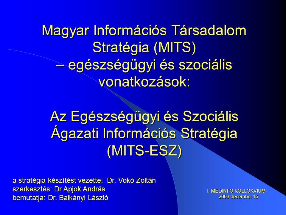 Magyar Információs Társadalom Stratégia (MITS) – egészségügyi és szociális vonatkozások: Az Egészségügyi és Szociális Ágazati Információs Stratégia (MITS-ESZ) a stratégia készítést vezette: Dr.
