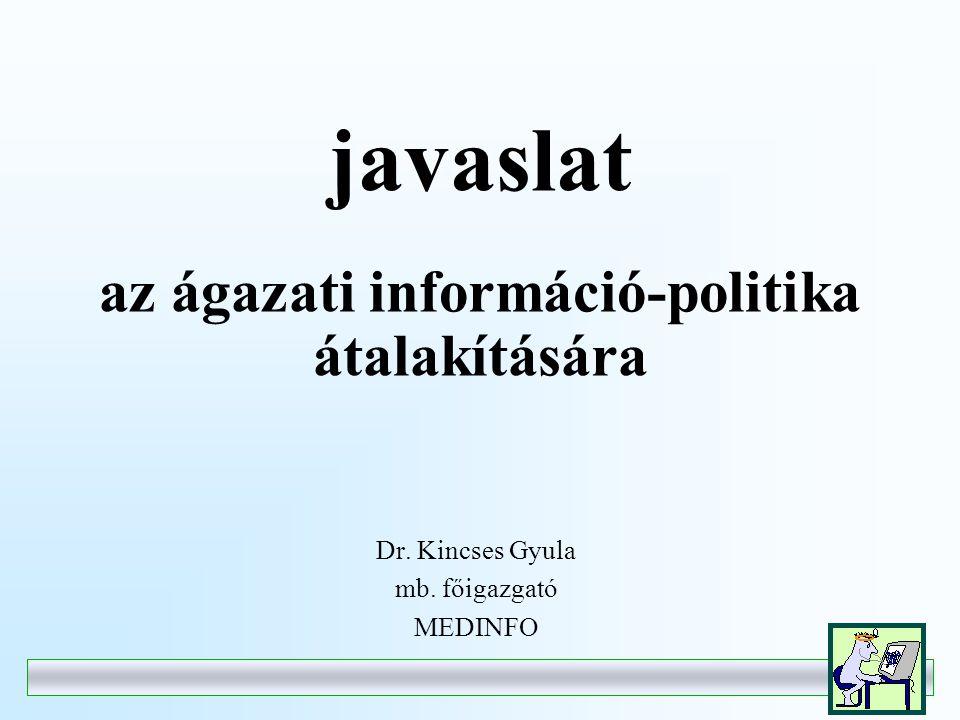 javaslat az ágazati információ-politika átalakítására Dr. Kincses Gyula mb. főigazgató MEDINFO