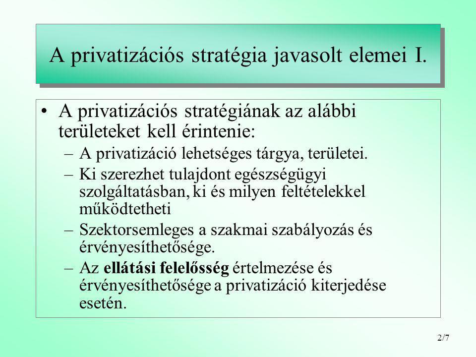 2/7 A privatizációs stratégia javasolt elemei I.