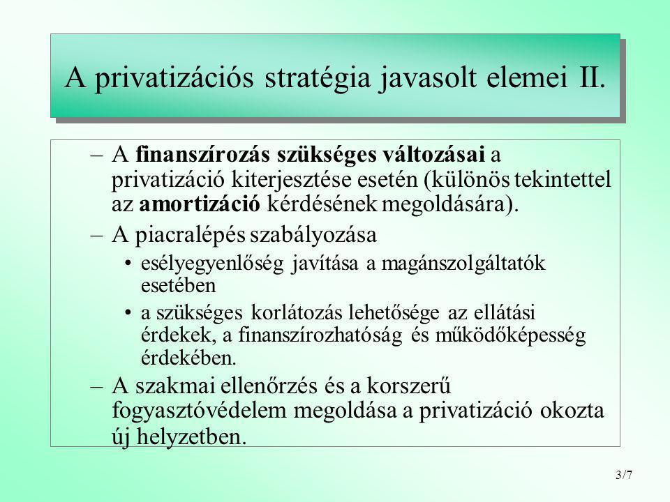 3/7 A privatizációs stratégia javasolt elemei II.