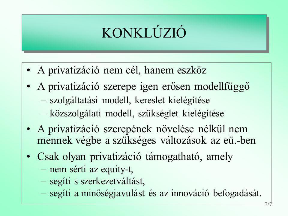 7/7 KONKLÚZIÓ A privatizáció nem cél, hanem eszköz A privatizáció szerepe igen erősen modellfüggő –szolgáltatási modell, kereslet kielégítése –közszolgálati modell, szükséglet kielégítése A privatizáció szerepének növelése nélkül nem mennek végbe a szükséges változások az eü.-ben Csak olyan privatizáció támogatható, amely –nem sérti az equity-t, –segíti s szerkezetváltást, –segíti a minőségjavulást és az innováció befogadását.