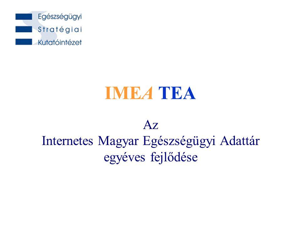 Dr. Surján György és munkatársai IMEA TEA 2006. március 30. IMEA TEA Az Internetes Magyar Egészségügyi Adattár egyéves fejlődése