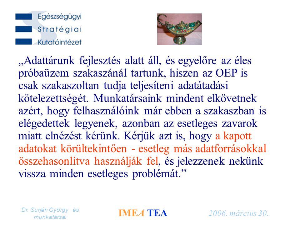 """Dr. Surján György és munkatársai IMEA TEA 2006. március 30. """"Adattárunk fejlesztés alatt áll, és egyelőre az éles próbaüzem szakaszánál tartunk, hisze"""