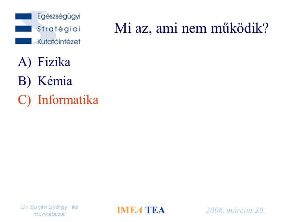 Dr. Surján György és munkatársai IMEA TEA 2006. március 30. Mi az, ami nem működik? A)Fizika B)Kémia C)Informatika