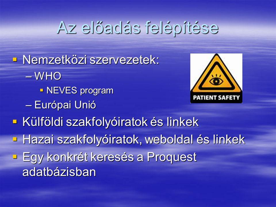 Az előadás felépítése  Nemzetközi szervezetek: –WHO  NEVES program –Európai Unió  Külföldi szakfolyóiratok és linkek  Hazai szakfolyóiratok, weboldal és linkek  Egy konkrét keresés a Proquest adatbázisban