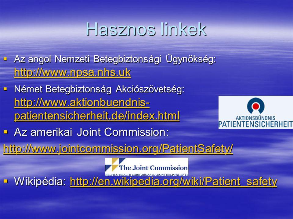 Hasznos linkek  Az angol Nemzeti Betegbiztonsági Ügynökség: http://www.npsa.nhs.uk http://www.npsa.nhs.uk  Német Betegbiztonság Akciószövetség: http://www.aktionbuendnis- patientensicherheit.de/index.html http://www.aktionbuendnis- patientensicherheit.de/index.html http://www.aktionbuendnis- patientensicherheit.de/index.html  Az amerikai Joint Commission: http://www.jointcommission.org/PatientSafety/  Wikipédia: http://en.wikipedia.org/wiki/Patient_safety http://en.wikipedia.org/wiki/Patient_safety