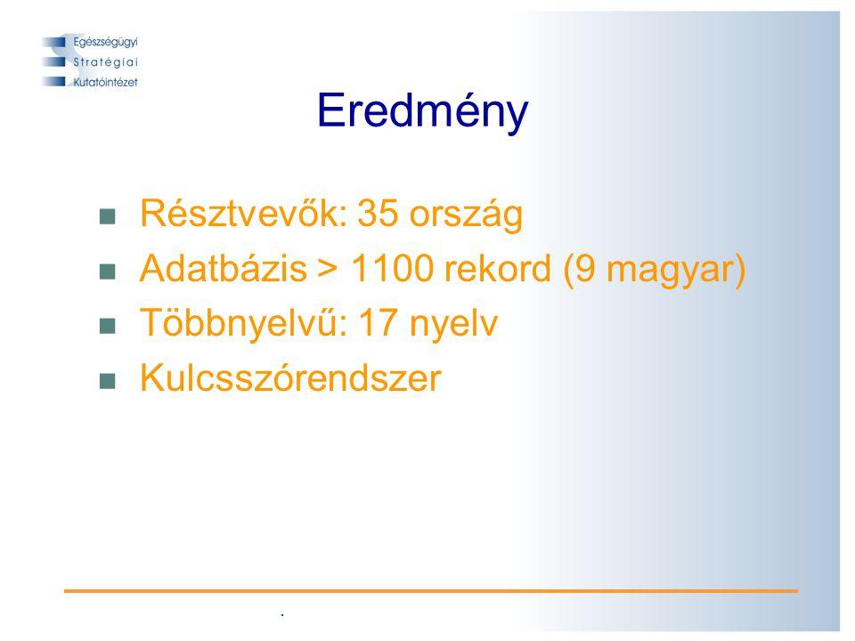 . Eredmény Résztvevők: 35 ország Adatbázis > 1100 rekord (9 magyar) Többnyelvű: 17 nyelv Kulcsszórendszer