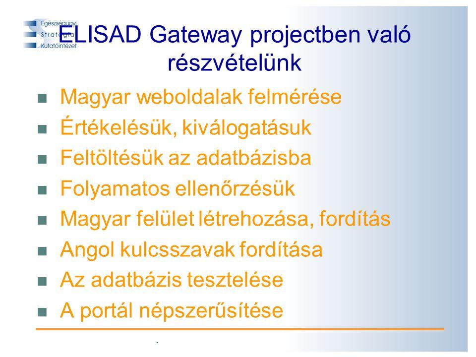 . ELISAD Gateway projectben való részvételünk Magyar weboldalak felmérése Értékelésük, kiválogatásuk Feltöltésük az adatbázisba Folyamatos ellenőrzésük Magyar felület létrehozása, fordítás Angol kulcsszavak fordítása Az adatbázis tesztelése A portál népszerűsítése