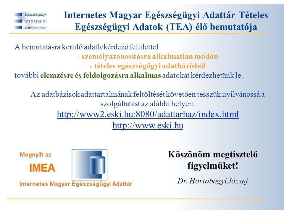 Internetes Magyar Egészségügyi Adattár Tételes Egészségügyi Adatok (TEA) élő bemutatója A bemutatásra kerülő adatlekérdező felülettel - személyazonosításra alkalmatlan módon - tételes egészségügyi adatbázisból további elemzésre és feldolgozásra alkalmas adatokat kérdezhetünk le.