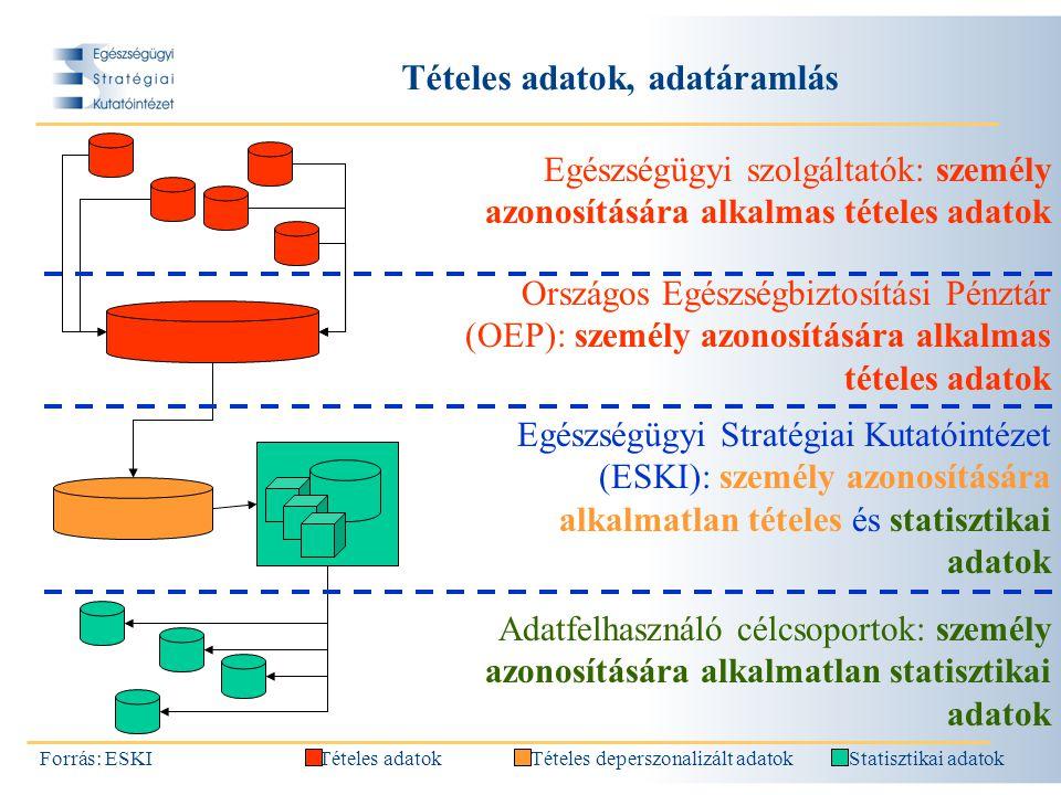 Tételes adatok, adatáramlás, feltételek biztosítása Forrás: ESKI Biztosítani kell (1) a megfelelő módszert, hogy a személy azonosítására alkalmas tételes adatokból a személy azonosítására alkalmatlan tételes adatokat hozzunk létre, (2) a jogszabályi hátteret, mely rendelkezik az adatátadásról (adatforrás, OEP --- ESKI), (3) a jogszabályi hátteret, mely az ESKI részére lehetővé teszi a személy azonosítására alkalmatlan tételes adatok feldolgozását, (4) az informatikai hátteret és felületet, mellyel a személy azonosítására alkalmatlan tételes adatokból különböző adatfelhasználó célcsoportok lekérdezéseket végezhetnek, mely lekérdezések eredménye minden esetben publikus statisztikai (összesített) adat.