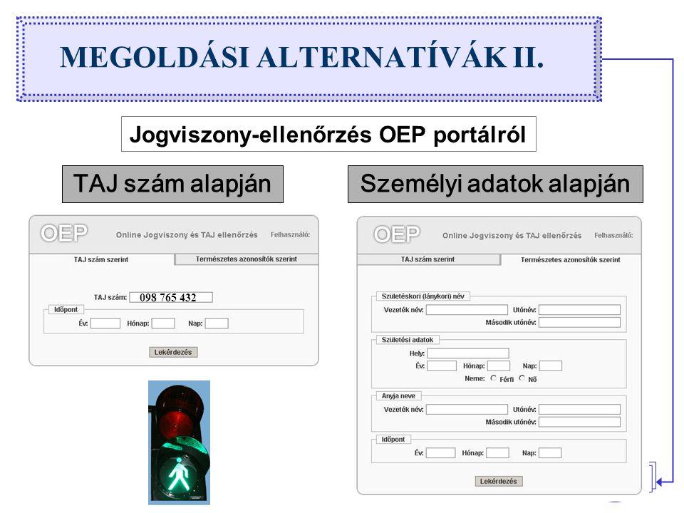 12 MEGOLDÁSI ALTERNATÍVÁK II. Jogviszony-ellenőrzés OEP portálról TAJ szám alapján 098 765 432 Személyi adatok alapján