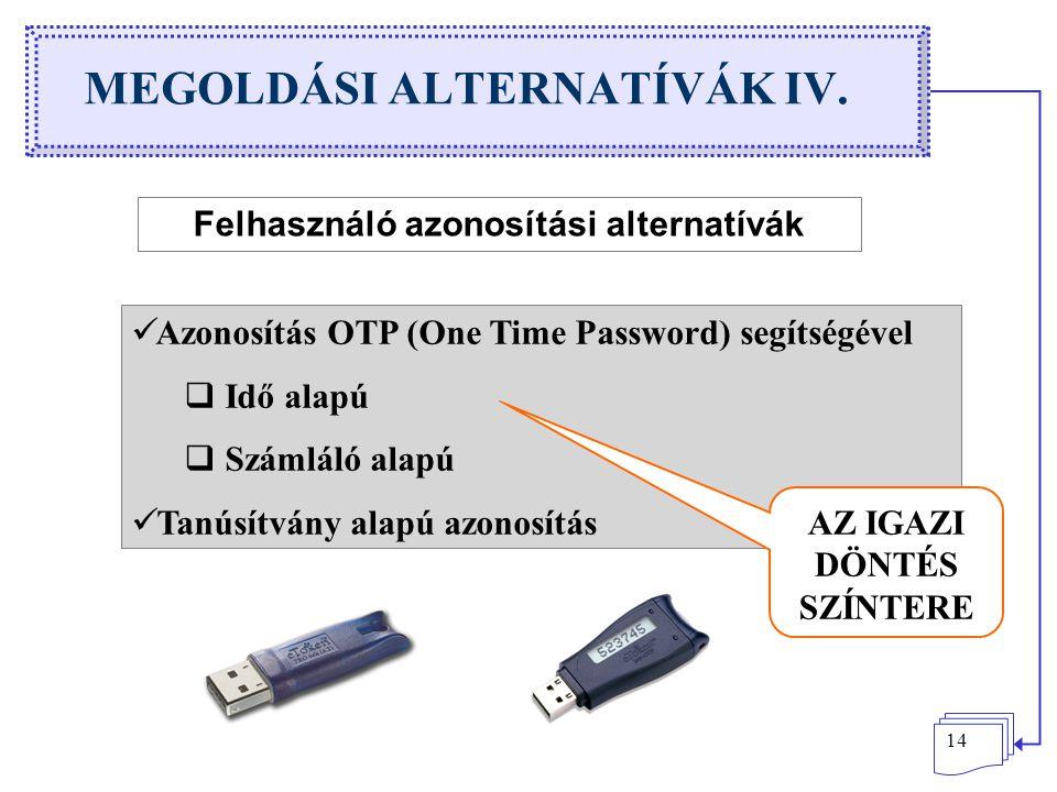 14 MEGOLDÁSI ALTERNATÍVÁK IV. Felhasználó azonosítási alternatívák Azonosítás OTP (One Time Password) segítségével  Idő alapú  Számláló alapú Tanúsí