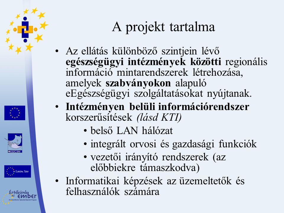 A projekt tartalma Az ellátás különböző szintjein lévő egészségügyi intézmények közötti regionális információ mintarendszerek létrehozása, amelyek sza
