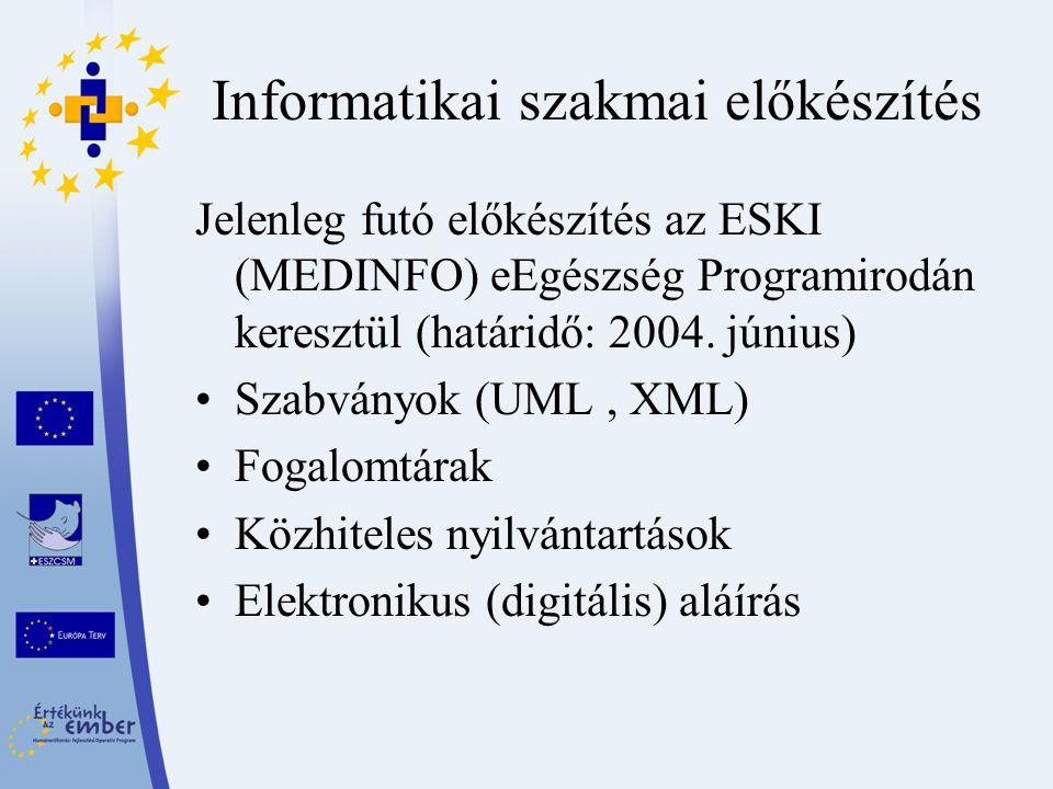 Informatikai szakmai előkészítés Jelenleg futó előkészítés az ESKI (MEDINFO) eEgészség Programirodán keresztül (határidő: 2004. június) Szabványok (UM