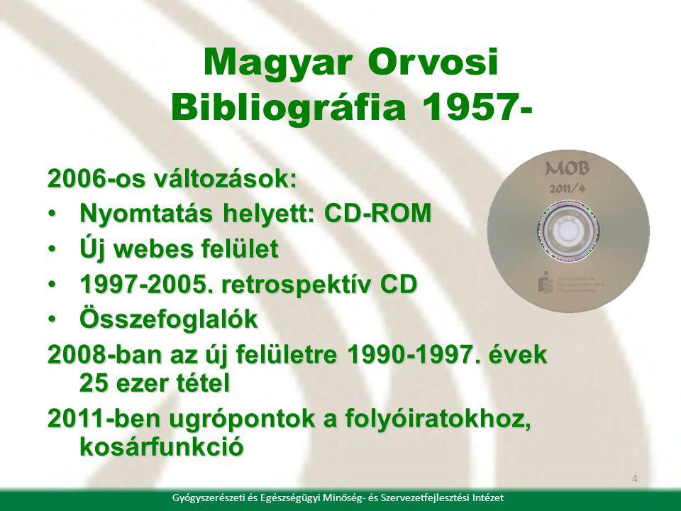 4 2006-os változások: Nyomtatás helyett: CD-ROMNyomtatás helyett: CD-ROM Új webes felületÚj webes felület 1997-2005. retrospektív CD1997-2005. retrosp