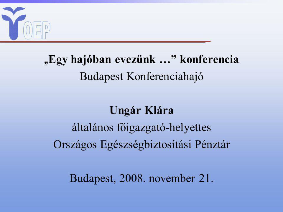 """"""" Egy hajóban evezünk … konferencia Budapest Konferenciahajó Ungár Klára általános főigazgató-helyettes Országos Egészségbiztosítási Pénztár Budapest, 2008."""
