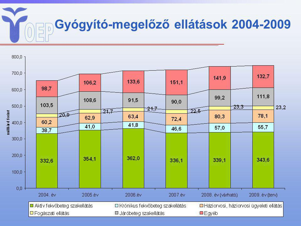 Gyógyító-megelőző ellátások 2004-2009