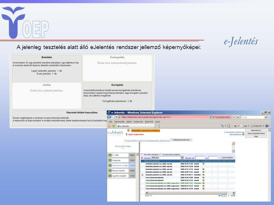 e-Jelentés A jelenleg tesztelés alatt álló eJelentés rendszer jellemző képernyőképei: