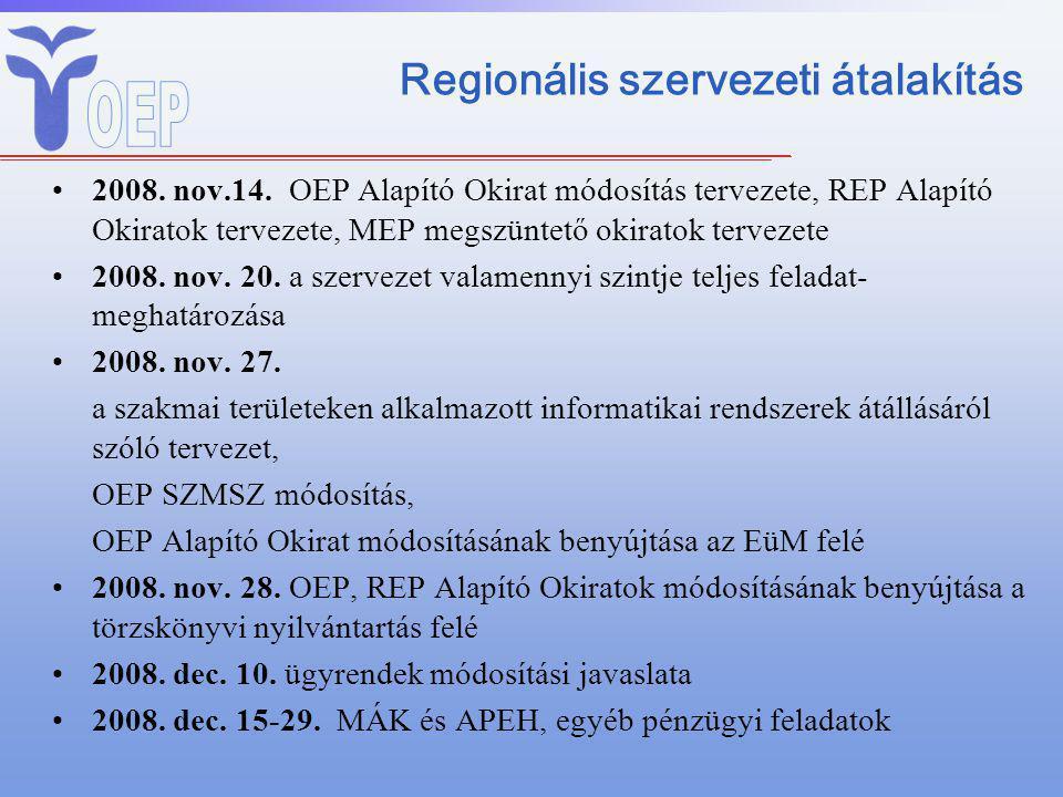 Regionális szervezeti átalakítás 2008. nov.14. OEP Alapító Okirat módosítás tervezete, REP Alapító Okiratok tervezete, MEP megszüntető okiratok tervez