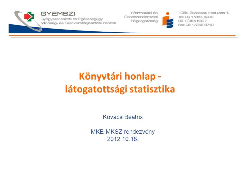 Könyvtári honlap - látogatottsági statisztika Kovács Beatrix MKE MKSZ rendezvény 2012.10.18.