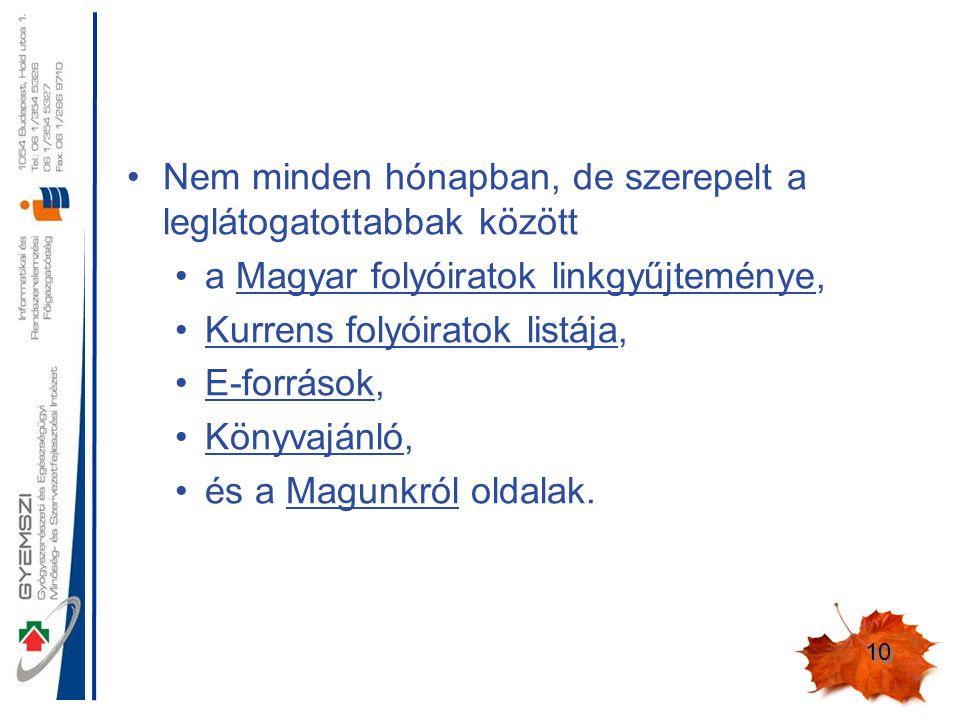 10 Nem minden hónapban, de szerepelt a leglátogatottabbak között a Magyar folyóiratok linkgyűjteménye, Kurrens folyóiratok listája, E-források, Könyvajánló, és a Magunkról oldalak.