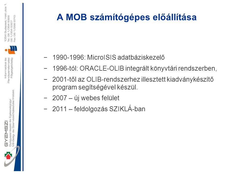 A MOB számítógépes előállítása −1990-1996: MicroISIS adatbáziskezelő −1996-tól: ORACLE-OLIB integrált könyvtári rendszerben, −2001-től az OLIB-rendsze